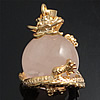 Natural Quartz Pendants, Rose Quartz, with Brass, Round, gold color plated, 27x18x18mm, Hole:Approx 4mm, Sold By PC