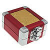 Aluminum Pendant Box, with Zinc Alloy, Rectangle, platinum color plated, with flower pattern, red, 60x70x37mm, Sold By PC