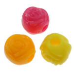 Plastic Pony Beads, Flower, solid color, mixed colors, 11mm, Hole:Approx 2mm, Approx 900PCs/Bag, Sold By Bag