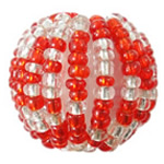 Woven Glass Seed Beads, with Acrylic, Round, handmade, two tone, Hole:Approx 4mm, Sold By PC