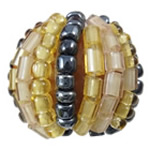 Woven Glass Seed Beads, with Acrylic, Round, handmade, 16mm, Hole:Approx 2mm, Sold By PC