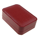 Leather Pendant Box, PU, with Cardboard & Velveteen, Rectangle, red, nickel, lead & cadmium free, 101x71x35mm, Sold By PC