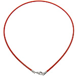 Tiger Tail Wire Necklace Cord, stainless steel lobster clasp, red, 3mm, Length:Approx 20 Inch, Sold By Strand