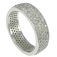 Cubic Zirconia Micro Pave Brass Finger Ring, plated, micro pave cubic zirconia, more colors for choice, nickel, lead & cadmium free, 6mm, US Ring Size:8.5, Sold By PC