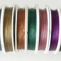 Tiger Tail Wire, with Plastic, plated, with rubber covered & 7-yarn & steel diameter: 0.5mm, more colors for choice, 0.6mm, Length:50 m, Sold By PC