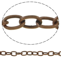 Iron Oval Chain, with plastic spool, antique copper color plated, nickel, lead & cadmium free, 6x8x1mm, 50m/Spool, Sold By Spool