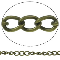 Iron Twist Oval Chain, with plastic spool, antique bronze color plated, nickel, lead & cadmium free, 5x7x1mm, 50m/Spool, Sold By Spool