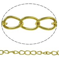Iron Twist Oval Chain, with plastic spool, gold color plated, nickel, lead & cadmium free, 10.6x3.5x1mm, 100m/Spool, Sold By Spool