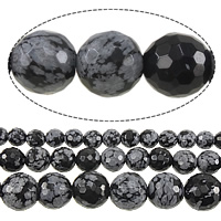 Snowflake Obsidian Bead, Round, different size for choice & faceted, Length:Approx 15 Inch, Sold By Strand