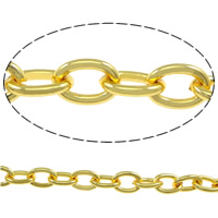 Iron Oval Chain, gold color plated, nickel, lead & cadmium free, 7x5x1mm, Sold By m