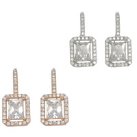 Cubic Zirconia Micro Pave Sterling Silver Earring, 925 Sterling Silver, Rectangle, plated, with cubic zirconia, more colors for choice, 13x28x4mm, Sold By Pair