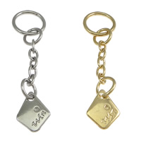 Zinc Alloy Extender Chain, with iron chain, Rhombus, plated, with letter pattern, more colors for choice, nickel, lead & cadmium free, 11.5x14x1.5mm, 13x13x1.5mm, Length:Approx 2 Inch, Sold By Strand