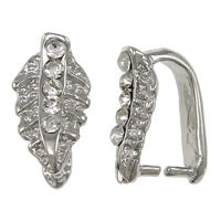 Zinc Alloy Pinch Bail, Leaf, plated, with rhinestone, more colors for choice, nickel, lead & cadmium free, Sold By PC