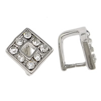 Zinc Alloy Pinch Bail, Rhombus, plated, with rhinestone, more colors for choice, nickel, lead & cadmium free, Sold By PC
