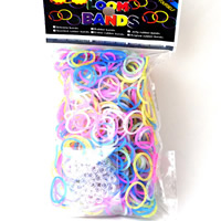 Loom Bands, Rubber, with plastic C clasp or S clasp & DIY & for children & colorful powder, mixed colors, 2mm, 600PCs/Bag, Sold By Bag