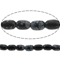Snowflake Obsidian Bead, Drum, different size for choice & imported, Length:16 Inch, Sold By Strand