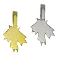 Brass Glue On Bails, Leaf, plated, more colors for choice, nickel, lead & cadmium free, 11x21x1mm, Hole:Approx 3.5x7mm, Sold By PC