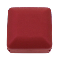 Plastic Pendant Box, with Velveteen, Square, stoving varnish, red, 67x67x35mm, Sold By PC
