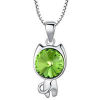 Austrian Crystal Pendant, 925 Sterling Silver, with Austrian Crystal, Cat, platinum plated, faceted, green, 20x9mm, Hole:Approx 3-5mm, 5PCs/Bag, Sold By Bag