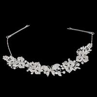 Bridal Frontlet, Zinc Alloy, with Brass, Butterfly, silver color plated, for bridal & with rhinestone, nickel, lead & cadmium free, 46x26x8mm, 280mm, Sold By PC
