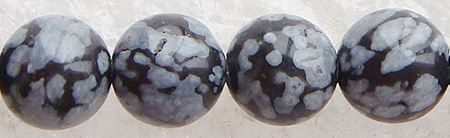 Snowflake Obsidian Bead, Round, different size for choice & imported, Length:15 Inch, Sold By Strand