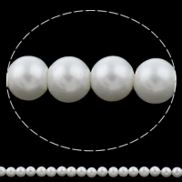 Glass Pearl Beads, Round, natural, white, Grade AAA, 4mm, Hole:Approx 1mm, Length:Approx 15.7 Inch, Approx 100PCs/Strand, Sold By Strand