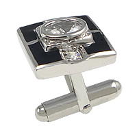 Sterling Silver Cufflinks, 925 Sterling Silver, Rectangle, plated, enamel & with cubic zirconia, more colors for choice, 15x16mm, 20mm, 18.5x4.5mm, Sold By PC