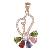 Cubic Zirconia Micro Pave Sterling Silver Pendant, 925 Sterling Silver, plated, micro pave cubic zirconia & faceted, more colors for choice, 17x28x5mm, Hole:Approx 3.5x5mm, Sold By PC