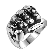 comeon® Finger Ring, Stainless Steel, with skull pattern & different size for choice & with cubic zirconia & blacken, 24x17mm, Sold By PC