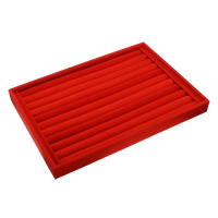 Velveteen Ring Display, with Cardboard, Rectangle, red, 350x240x30mm, Sold By PC