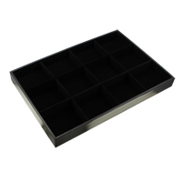 Velveteen Bracelet Display, with Cardboard, Rectangle, 12 cells, black, 350x240x30mm, Sold By PC