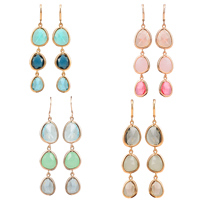 Resin Zinc Alloy Earring, with Resin, Teardrop, gold color plated, faceted, more colors for choice, 53x12mm, Sold By Pair