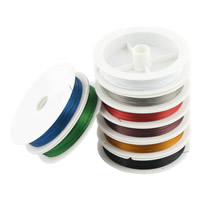 Tiger Tail Wire, with plastic spool & Nylon Coated Rubber Rope, 7-yarn, more colors for choice, 0.6mm, 100m/PC, Sold By PC