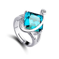 Cubic Zirconia Micro Pave Brass Finger Ring, with Glass, Rhombus, platinum plated, micro pave cubic zirconia & faceted, sea blue, nickel, lead & cadmium free, 22x17mm, US Ring Size:8, Sold By PC