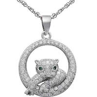 Cubic Zirconia Micro Pave Sterling Silver Pendant, 925 Sterling Silver, Animal, platinum plated, micro pave cubic zirconia, 19x19mm, Hole:Approx 3x5mm, Sold By PC