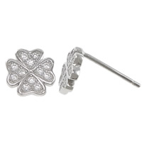 Cubic Zirconia Micro Pave Sterling Silver Earring, 925 Sterling Silver, with rubber earnut, Four Leaf Clover, micro pave cubic zirconia, 7x7x12mm, Sold By Pair