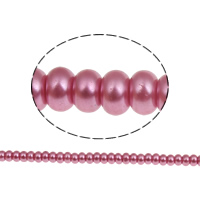 Glass Pearl Beads, Rondelle, stoving varnish, bright rosy red, 6x3.5mm, Hole:Approx 1mm, Length:Approx 7 Inch, Approx 50PCs/Strand, Sold By Strand