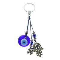Evil Eye Key Chain, Zinc Alloy, with Nylon Cord & Lampwork & Iron, Hamsa, plated, evil eye pattern & with rhinestone, nickel, lead & cadmium free, 31x7mm, 160mm, Hole:Approx 26.5mm, Length:Approx 6 Inch, Sold By Strand