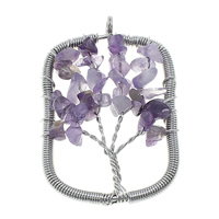 Natural Quartz Pendants, Amethyst, with Brass, Rectangle, platinum color plated, 36-37x55-56x8-10mm, Hole:Approx 4.5mm, Sold By PC