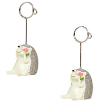 Place Card Clip, Resin, with Zinc Alloy, Hedgehog, brushwork, 35x100mm, Sold By PC