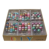 DIY Bracelet Beads Set, ABS Plastic Pearl, with Plastic Box & Crystal Thread & Iron, Round, mixed colors, 10mm-14mm, Hole:Approx 1-2mm, 12Boxes/Lot, Sold By Lot