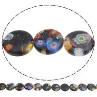 Bluesand Millefiori Glass Beads, Flat Round, handmade, 12x3mm, Hole:Approx 1mm, Length:Approx 14.7 Inch, Approx 32PCs/Strand, Sold By Strand