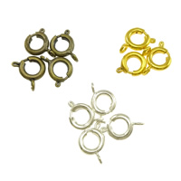 Brass Spring Ring Clasp, plated, more colors for choice, 17x11x2mm, Hole:Approx 1mm, Sold By PC