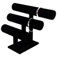 Velveteen Bracelet Display, with Wood, black, 295x210mm, 185x115mm, Sold By PC