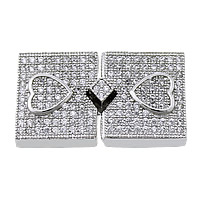 Sterling Silver Box Clasp, 925 Sterling Silver, Rectangle, plated, micro pave cubic zirconia, more colors for choice, 25mm, 12x14x4mm, Hole:Approx 0.5mm, Sold By Set