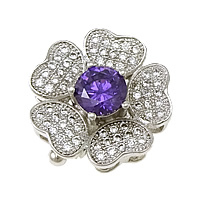 Sterling Silver Box Clasp, 925 Sterling Silver, Flower, plated, micro pave cubic zirconia & single-strand, more colors for choice, 17x17x9mm, Hole:Approx 1.5x3.5mm, Sold By Set