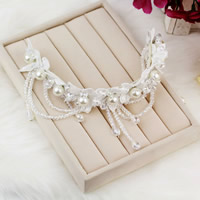 Bridal Frontlet, Crystal, with ABS Plastic Pearl & Lace & Iron, Flower, for bridal, 25x10cm, Length:Approx 9.5 Inch, Sold By PC