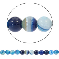 Natural Lace Agate Beads, Round, different size for choice, blue, Length:Approx 15 Inch, Sold By Strand