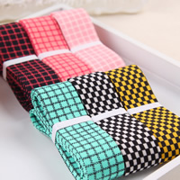 Polyester Ribbon, gingham, mixed colors, 25mm, 50Strands/Bag, 1m/Strand, Sold By Bag