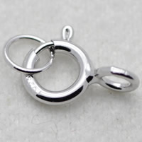 Brass Spring Ring Clasp, Donut, silver color plated, single-strand, nickel, lead & cadmium free, 10x5mm, Hole:Approx 2-5mm, Sold By PC